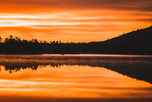 Vibrant Sunrise And Reflection, Togue Pond, Baxter State Park, Maine