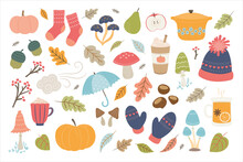 Autumn Hand Drawn Vector Elements. Cute Illustration With Autumn And Winter Cozy Elements. Isolated On White Background.