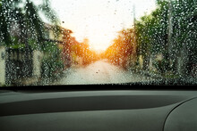 Poor Vision Rain Drops On Car Glass In Rainy Days