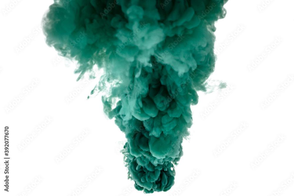 Fototapeta Green smoke bomb exploding against white background