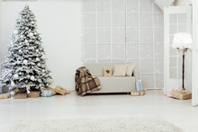 White Snowy Christmas Tree With Gifts Decor Interior Of The House New Year Postcard