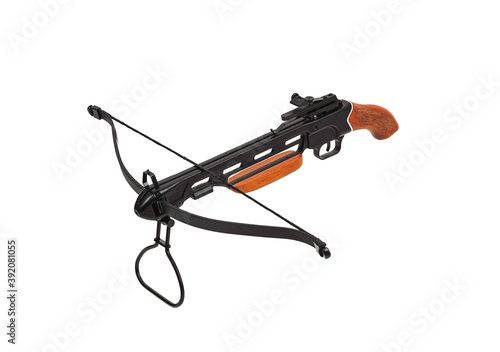 Photo Crossbow with a wooden handle and no butt isolate on a white back