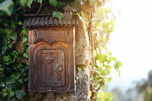 Rustic Wooden Mailbox At The Entrance Of The House With Vine