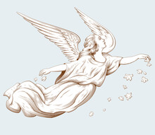 Flying Angel With Flowers. Biblical Illustrations In Old Engraving Style. Decor For Religious Holidays. Hand Drawn Vector Illustration