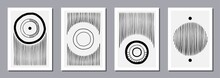 Abstract Modern Print With Lines And Circles, Geometric Black And White Set For 3d Rendering, Simple Wallart