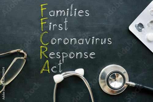 Families First Coronavirus Response Act FFCRA is shown on the photo Fotobehang