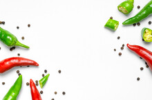 Hot Red And Green Fresh Chili Peppers, Dry Black Peppercorns On White Background Flat Lay Top View. Seasoning For Dish, Spicy Spices For Cooking, Cayenne Pepper, Food. Creative Layout, Chili Pattern