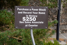 Sign Asking Tourists To Buy A Personalized Paver At The Buffalo Bill Dam In Cody Wyoming