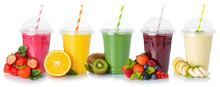 Collection Of Fruit Juice Smoothies Orange Drink Drinks Cups Healthy Eating Isolated On White