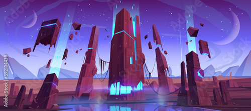 Alien planet surface, futuristic landscape, space background with glowing and flying rocks, two moons in dusk starry sky. Scientific discovery, fantasy computer game scene, cartoon vector illustration