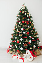 New Year's Eve Christmas Tree Interior With Holiday Decor Gifts