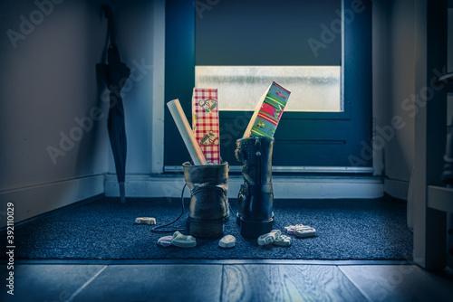 Sinterklaas, children put down the shoe, early in the morning, typical Dutch par Fototapeta