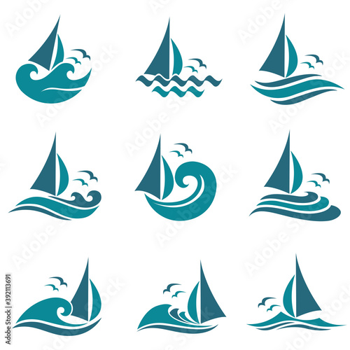 collection of yacht icons with sea waves isolated on white background Billede på lærred