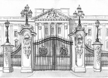 The Gate And Part Of The Facade Of Buckingham Palace In London Are Painted In Black Watercolor On White Paper For Tourist Design.