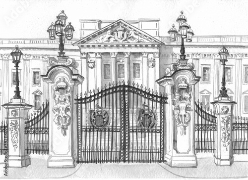 Canvas Print The gate and part of the facade of Buckingham Palace in London are painted in black watercolor on white paper for tourist design