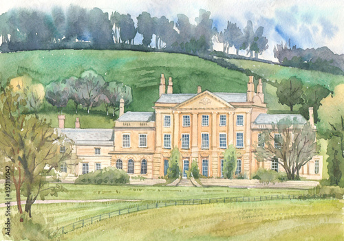 Photo English country palace of aristocrats on a background of nature painted in watercolor on paper