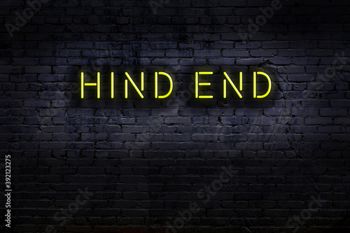 Papel de parede Neon sign. Word hind end against brick wall. Night view