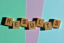 Results, Word In Wooden Alphabet Letters Isolated On Pastel Background