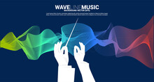 Vector Silhouette Of Conductor Hand With Sound Waves In Background . Concept Background For Orchestra Concert And Recreation.