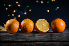A Row Of Orange Clementines On...