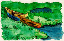 Colorful Small Wooden Boats Moored Amid Aquatic Vegetation. Near The Tropical Beach Of Itaunas In The Brazilian Northeast. Watercolor Painting.