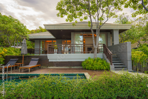 exterior of beach front bungalow for rent of seaside resort and hotel