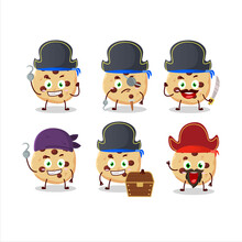 Cartoon Character Of Chocolate Chips With Various Pirates Emoticons
