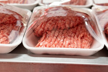 Minced Meat In The Store Close-up. Sale Of Fresh Meat In A Supermarket