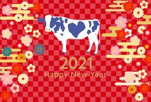 2021年丑年年賀状乳牛-和柄赤色背景