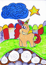 Illustration Of A Unicorn Playing With Toys