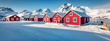 Captivating Morning Scene Of Small Fishing Village - Molnarodden With Kalsteindalselva Peak On Background, Lofoten Islands, Norway, Europe. Spectacular Winter Seascape Of Norwegian Sea.