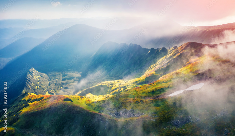 Fototapeta Spectacular summer view from flying drone of Kizly ridge. Unbelievable morning scene of Carpathian mountains, Ukraine, Europe. Spectacular sunrise in the mountains.