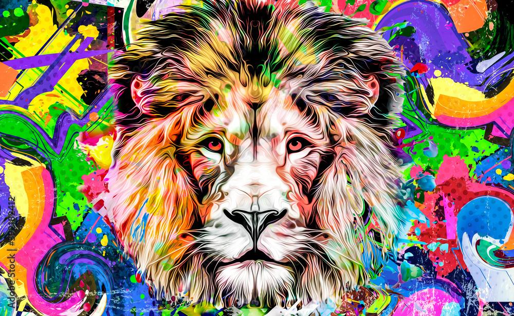 Fototapeta lion head isolated on color background