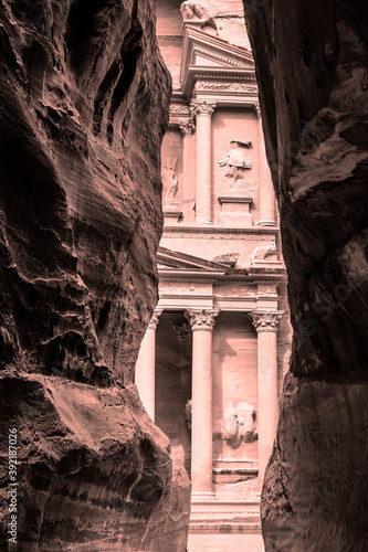 The Siq with El-Khazneh (toned black and white)