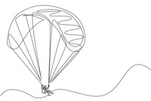 One Single Line Drawing Of Young Sporty Man Flying With Paragliding Parachute On The Sky Vector Illustration Graphic. Extreme Sport Concept. Modern Continuous Line Draw Design