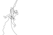 One Single Line Drawing Young Active Woman Climbing On Cliff Mountain Holding Safety Rope Vector Illustration Graphic. Extreme Outdoor Sport And Bouldering Concept. Modern Continuous Line Draw Design