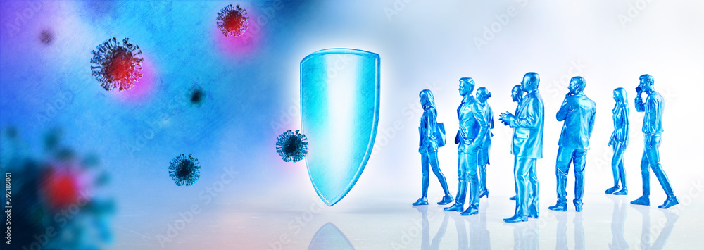 Fototapeta Immune system defends from virus and bacteria. Immune shield protection against illness, coronavirus, covid-19 and flue. 3D rendering.