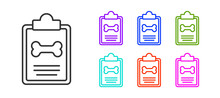 Black Line Clipboard With Medical Clinical Record Pet Icon Isolated On White Background. Health Insurance Form. Medical Check Marks Report. Set Icons Colorful. Vector.