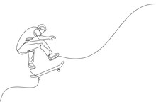 Single Continuous Line Drawing Of Young Cool Skateboarder Man Riding Skate And Performing Jump Trick In Skate Park. Practicing Outdoor Sport Concept. Trendy One Line Draw Design Vector Illustration