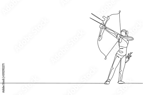 Single continuous line drawing of young professional archer woman focus aiming archery target Fotobehang