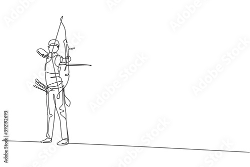 Canvas-taulu One continuous line drawing of young archer man pulling bow to shooting an archery target