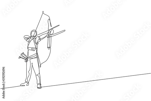 Canvas Print Single continuous line drawing of young professional archer man focus aiming archery target