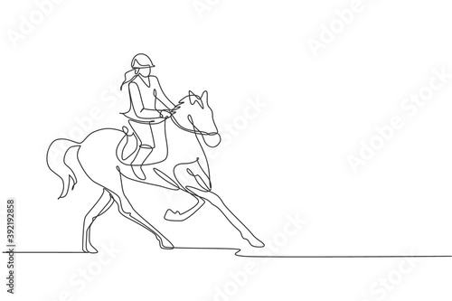 Fototapeta One continuous line drawing of young horse rider woman in action. Equine run training at racing track. Equestrian sport competition concept. Dynamic single line draw design vector illustration graphic obraz