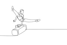 One Continuous Line Drawing Of Young Man Exercising Pommel Horse At Gymnastic. Gymnast Athlete In Leotard. Healthy Sport And Active Concept. Dynamic Single Line Draw Design Graphic Vector Illustration