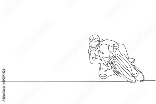 Papel de parede Single continuous line drawing of young superbike racer practice leaning at circuit track