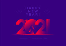 Happy New Year 2021 Greeting Card In Duotone Gradients Color Design. Modern Typography Number Merry Christmas Illustration.