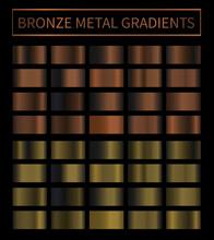 Bronze, Copper Metal Gradient Vector Colorful Texture Set