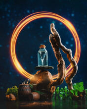 Fiery Portal To Adventure With A Storm In Bottle, Sea-themed Still Life,