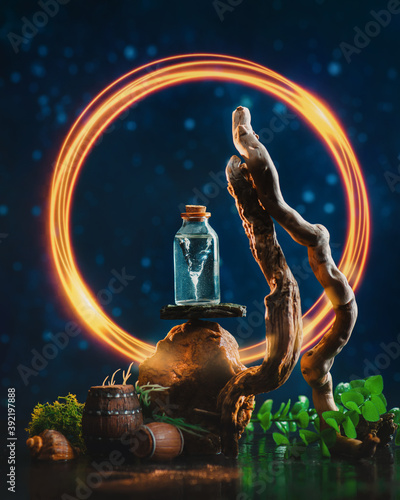 Fiery portal to adventure with a storm in bottle, sea-themed still life, Fotobehang