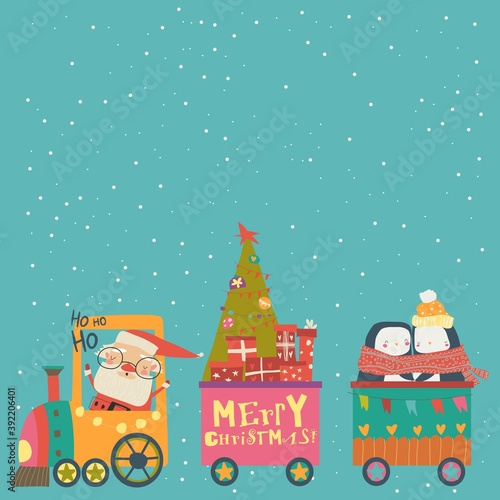 Cheerful Christmas train with Santa and animals